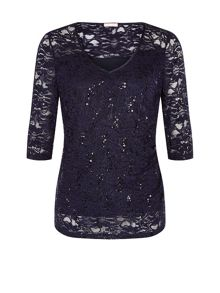 Planet Midnight Sequin Lace Top