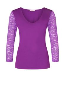 Lace Jersey Sleeve Top