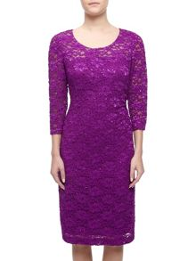 Precis Petite Sheer Yoke  Lace Dress