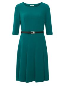 Curved Seam Textured Dress
