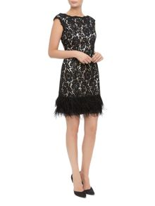 Lace Feather Trim Shift Dress