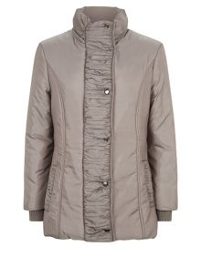 Mid Ruched Collar Coat