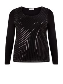 Black Sequin Jersey Top