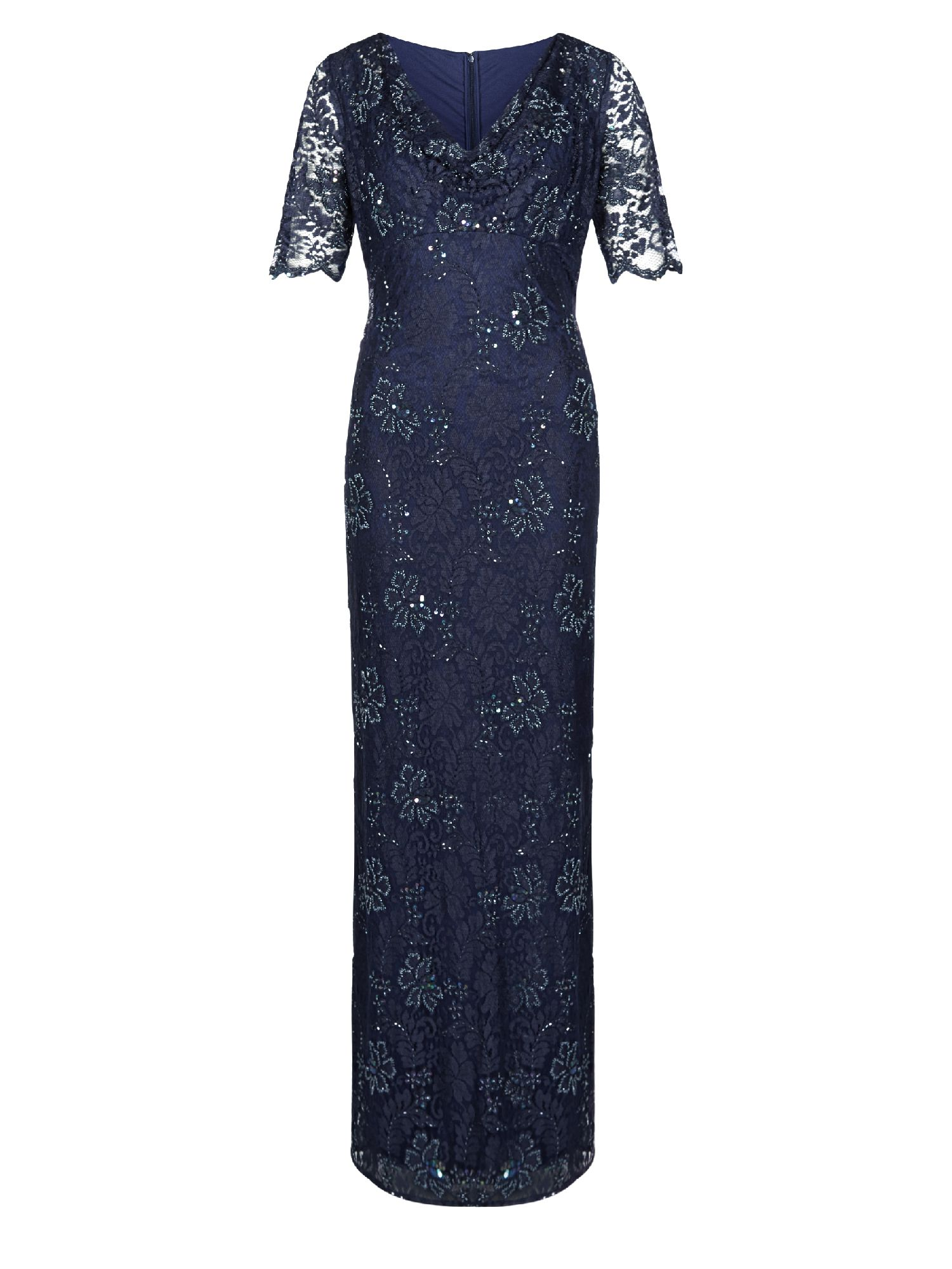 Jacques Vert Lace And Bead Cowl Maxi Dress $279.20 AT vintagedancer.com