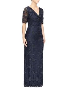 Lace And Bead Cowl Maxi Dress