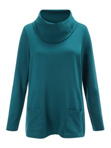 Patch Pocket Cowl Neck Top