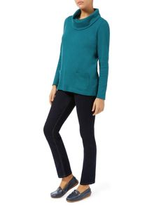 Dash Patch Pocket Cowl Neck Top