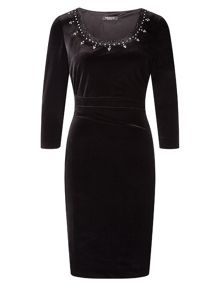 Precis Petite Embellished Velvet Dress