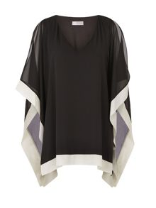 Black And Oyster Chiffon Tunic