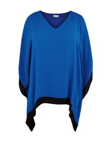 Cobalt And Black Chiffon Tunic