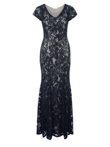 Cornelli And Lace Maxi Dress