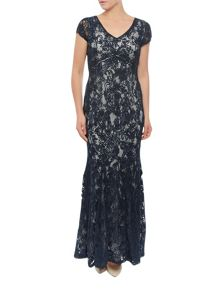Jacques Vert Cornelli And Lace Maxi Dress