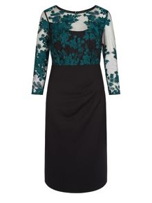 Winter Floral Lace Jersey Dres
