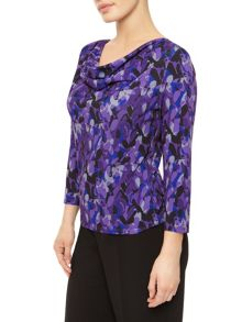 Layered Leaf Cowl Neck Top