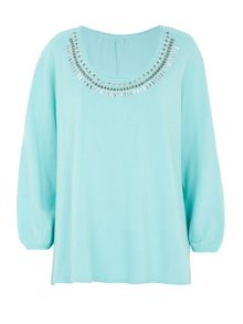 Embellished Cold Shoulder Knit