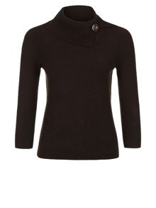 Boucle Button Ribbed Jumper