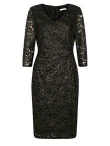 Kaliko Black & gold floral lace dress