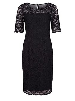 Precis Petite Neck Embellished Lace Dress
