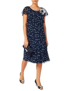 Jacques Vert Brushstroke Spot Layers Dress