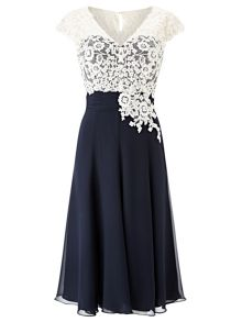 Jacques Vert Lace Bodice Chiffon Dress