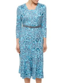Eastex Animal Floral Print Dress Teal