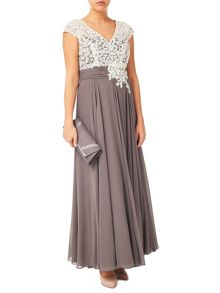 Jacques Vert Lace Bodice And Chiffon Dress