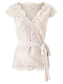 Jacques Vert Elegant Lace Stretch Mesh Top