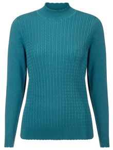Eastex Cable Wave Turtleneck Sweater