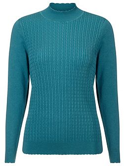 Cable Wave Turtleneck Sweater