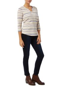 Neutral Stripe Notch Neck Top
