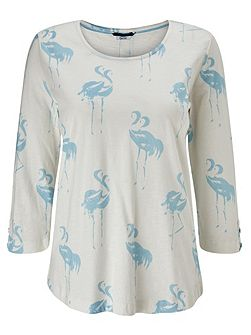 Flamingo Print Jersey Top
