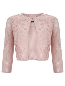 Pink Lace Crop Jacket