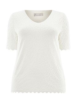 Ivory Lace Jersey Top