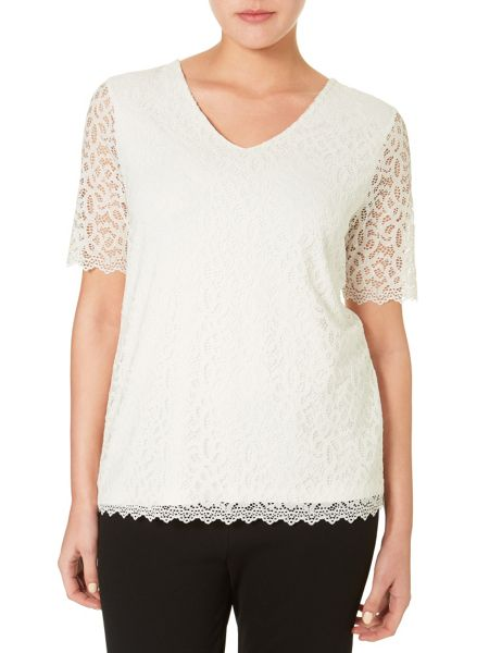 Windsmoor Ivory Lace Jersey Top