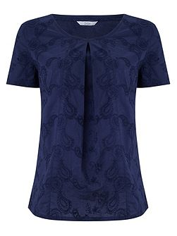Broidery Navy Top