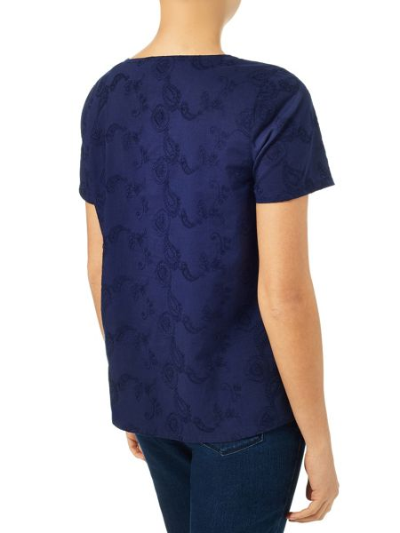 Dash Broidery Navy Top