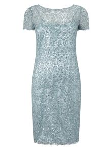Aqua Sequin Lace Dress