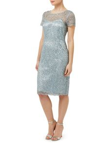Precis Petite Aqua Sequin Lace Dress