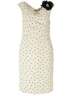 Jacques Vert Petite Spot Wrap Front Dress
