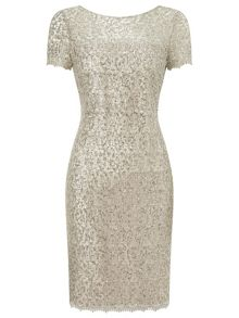 Precis Petite Oyster Sequin Lace Dress