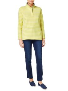 Dash Stripe Peached Funnel Neck Top