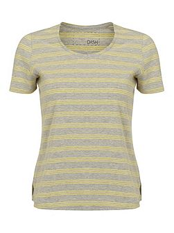 Grey And Yellow Stripe Top