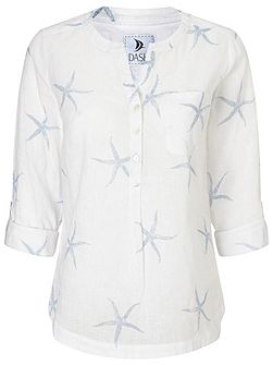 Linen Starfish Printed Blouse