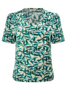 Eastex Painterly Leaf Jersey Top