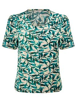 Painterly Leaf Jersey Top