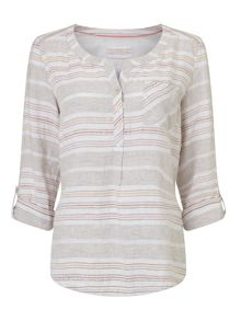 Dash Stone Linen Stripe Blouse