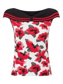 Precis Petite Black Tipped Print Bardot Top
