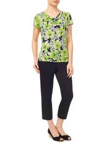 Precis Petite Lime Printed Floral Jersey Top