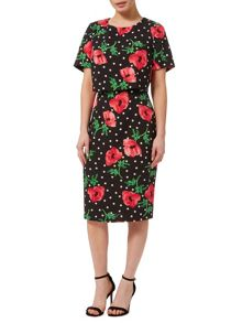 Precis Petite Double Layer Poppy Spot Dress