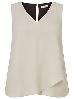 Woven Jersey Layered Top